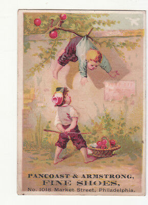 Pancoast & Armstrong Shoes Philadelphia Boy Hanging Apple Tree Vict Card c1880s