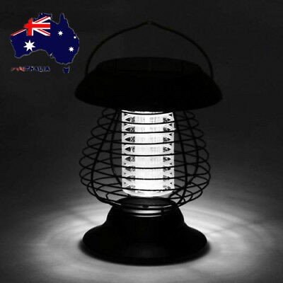 Solar Powered Outdoor Mosquito Fly Bug Insect Zapper Killer w/Trap Lamp Light