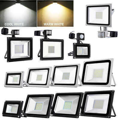 LED Floodlight 10/20/30/50/100W Sensor Motion Flood Light Outdoor Garden IP65 UK