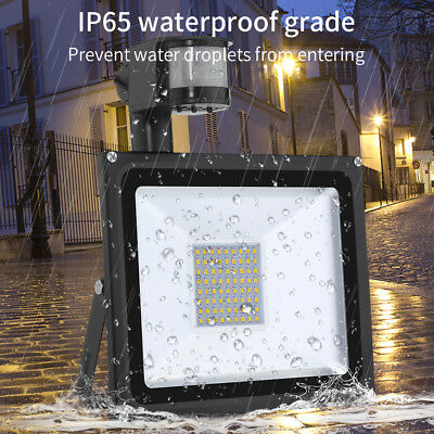 10/20/30/50/100W PIR LED Floodlight Sensor Motion Flood Light Outdoor Garden UK