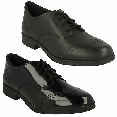 Kids Youth Sami Walk Clarks Girls Lace Up Casual Formal Brogue School Shoes Size