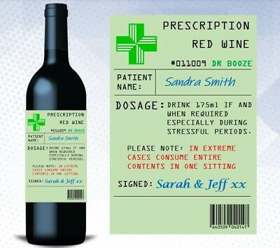Personalised Novelty Prescription Pharmacy Wine Bottle Label Gift Funny Birthday
