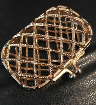 Vintage Gold Tone Hard Cage See-Thru Coin Purse W/ Snap Closure & Hinged Bottom