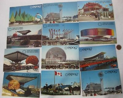 12 Postcards Expo 67 unused and Map and guide