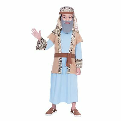 Boys Shepherd Christmas School Nativity  Play Costume Outfit with Beard Tunic