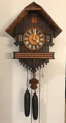 Antique, German, Chalet Cuckoo Clock. Early 20th Century, See Video