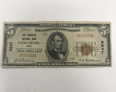 1929 $5 National Currency Lancaster Ohio