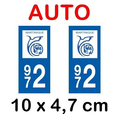 2 stickers car license plate DOMING 3D RESIN TUNING MARTINIQUE 972