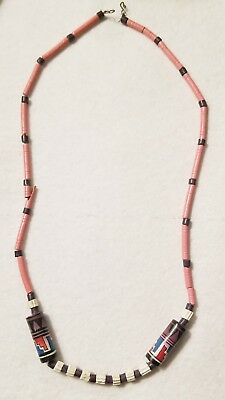ANTIQUE EGYPTIAN FAIENCE NECKLACE Paste Pink Authenic 19 1/2""