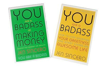 Jen Sincero 2 Book Self Help You Are a Badass + Badass At Making Money New