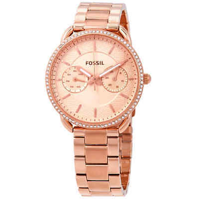 66b7f1214367 FOSSIL LADIES  TAILOR Multifunction Rose Gold-Tone Stainless Steel ...
