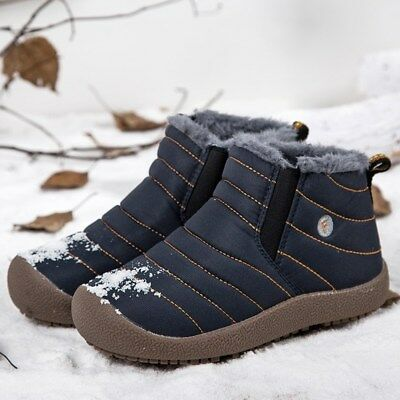 Men's Snow Boots Waterproof Cotton Shoes Fur Lined Warm Ankle Booties Sneakers