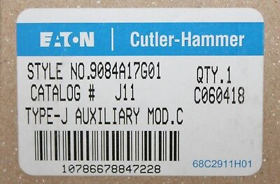 EATON CUTLER HAMMER J11 A200 Auxiliary Contact 2NO 2NC 9084A17G01