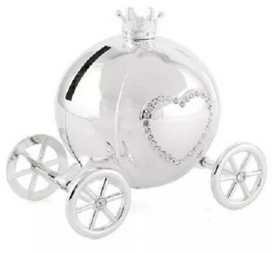 Cinderella Money Box Silver Plated Pumpkin Coach Carriage~Crystals~Free Pp Uk