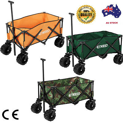Foldable Wagon Trailer Collapsible Trolley Outdoor Cart For Camping Beach Garden