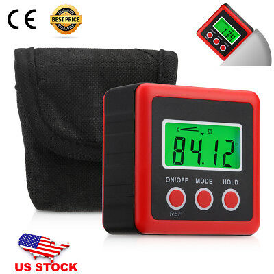 Digital Mini Cube Protractor Angle Meter Inclinometer LCD Display Magnetic Base