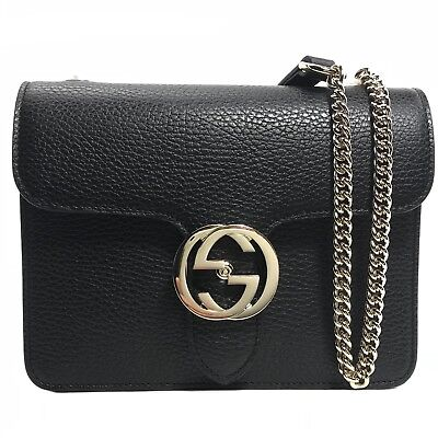 240c5d88 NEW/AUTHENTIC GUCCI 510304 Interlocking Leather Chain Crossbody Bag, Black