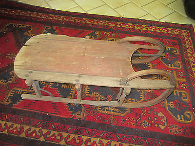 """Antique primitive 19th century child's sled, 29"""" long, 11"""" high, 14"""" wide"""