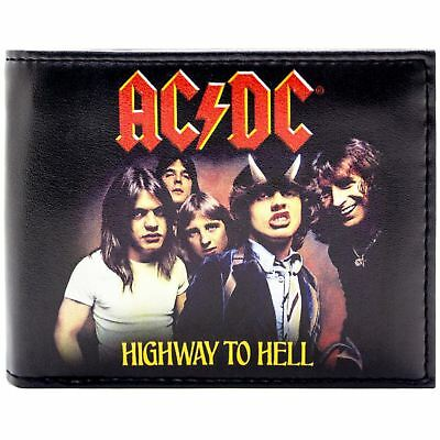 New Official Ac/dc Highway To Hell Album Art Black Id & Card Bi-Fold Wallet