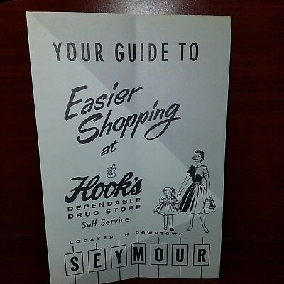 Vintage Hook's Drug Store Shopping GuideStore layout w/ Soda Fountain 1950's