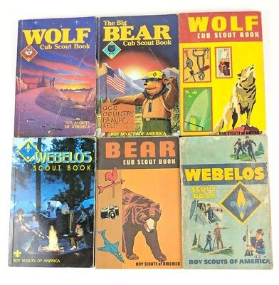 LOT OF 5 OLD VTG BOY & CUB SCOUT BOOKS, WOLF, BEAR, LION-WEBELOS, 60s 70s 80s