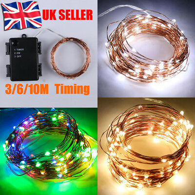 Micro Rice LED Wire Battery Copper Fairy Lights Waterproof Timer Indoor Outdoor