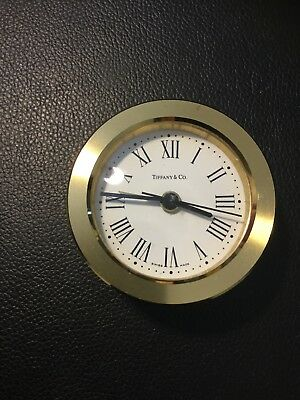 Vintage Tiffany & Co. Brass Clock Swiss Made  Works 2.75""