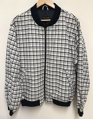 Vintage Brooks Brothers Mens Plaid Check Pattern Bomber Jacket Size Medium