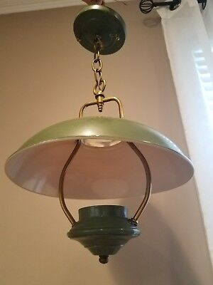 Vintage Green Metal Hanging Lamp Light Fixture With Brass Hardware *works!*