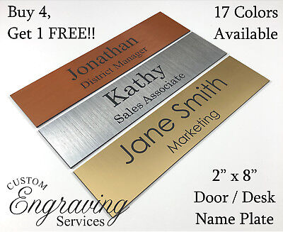 "Name Plate For Office Desk Or Door (2""X8"") Sign Plaque Personalization Engraved"