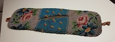 Antique 19th Century Bead Work Purse with Floral Decoration