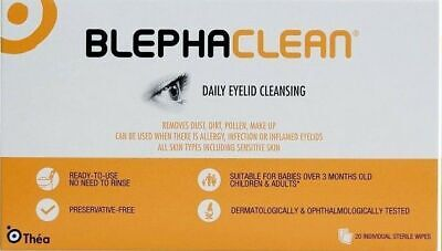 Blephaclean Wipes x20 for Daily Hygiene of Eye Lids Preservative Free