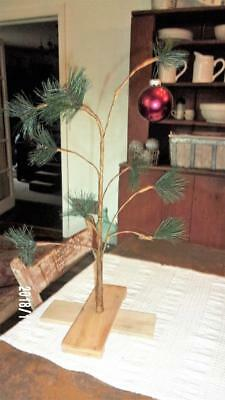 "Charlie Brown Christmas Tree 20"" x 12""  so cute.  Wooden Base - Simple Farmhouse"