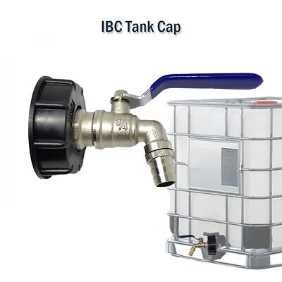 "IBC Tank Cap with Brass Tap & 3/4"" Snap On Connector Water Butt Fuel Storage New"