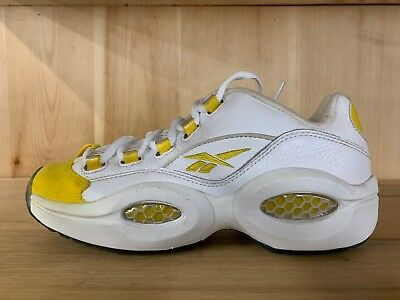 25490d59152 Reebok Question Low White Yellow Iverson Pre-Owned Mens Size 8 4-49741