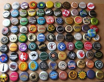 100 Mostly Current Craft Micro Beer Caps  Lot 1