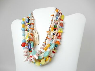 Lot of Vintage Czech Glass Bead Necklace Multi Color Mardi Gras Throw Beads Tag
