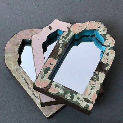 Antique/vintage Indian, 3 Small Arched Temple Mirrors.  Pink, Vanilla & Sage.
