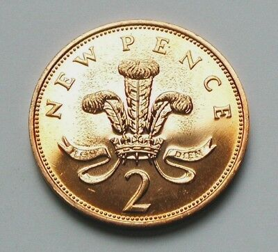 1973 UK (British) Coin - 2 New Pence - AU++ tone spots ('73 only exist in proof)