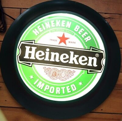 "New in Box Heineken Illuminated Circle Sign Electric New Old Stock 17"" Diameter"