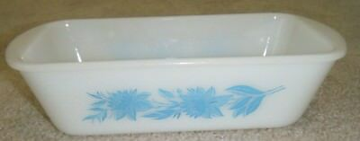 Vintage White Milk Glass Glasbake Loaf Bread Pan Casserole Dish Aqua Thistle