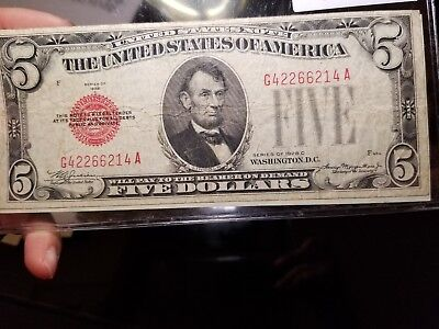 ☆1928 C $5 Five Dollar Bill Federal Reserve Note Red Seal☆90 years old!!!