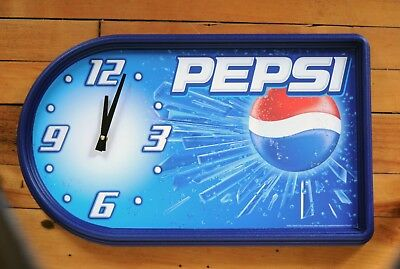"""New Old Stock Never Used Pepsi Wall Clock Battery Operated 19 1/2"""" X 12"""""""