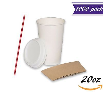 (1000 Sets) 20 oz Paper Coffee Cups with Dome Lids and Sleeves, BONUS Stirrers