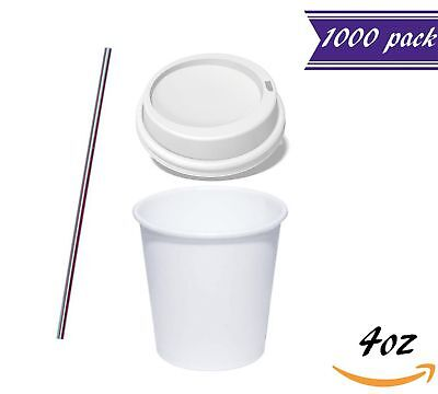 (1000 Sets) 4 oz Espresso Hot Cups with Lids, Bonus Stirrers, Disposable