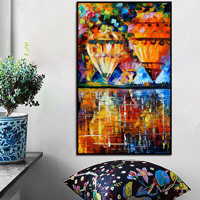 Hot-air Balloon On Canvas Colorful Frameless Wall Art Oil Painting Home Decor US