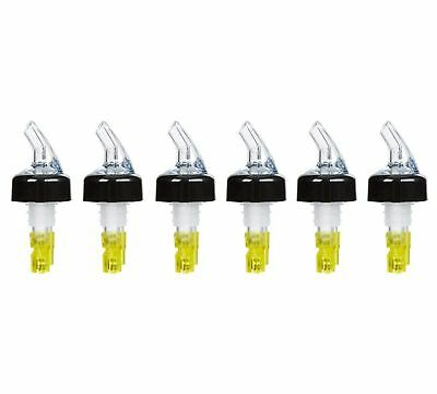 (Pack of 6) Measured Liquor Bottle Pourers, 1.5 oz, Clear Spout w/ Yellow Tail