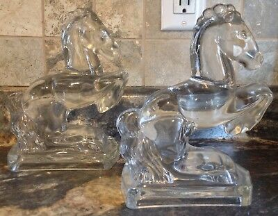 Vintage 1940's L.e. Smith Clear  Glass Rearing Horse Bookends