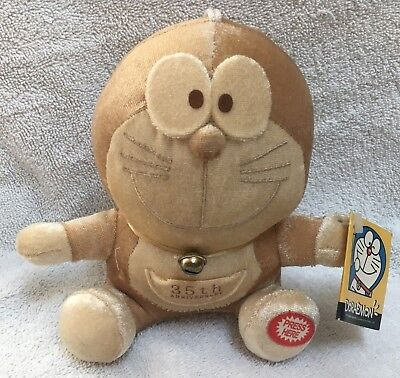 USED 2006 35th Anniversary Golden Doraemon Suction Cup Plush Anime Toy Japan Cat