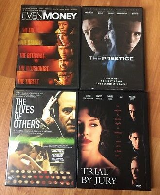 Dvd Lot - The Prestige, Trial By Jury, The Lives Of Others, Even Money - Action